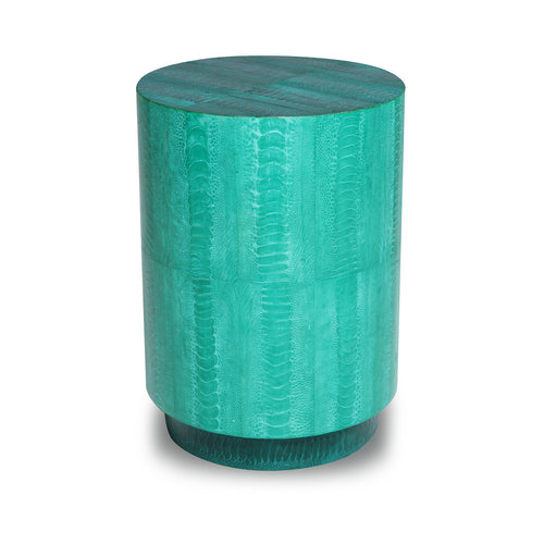 Ostrich Turquoise Barrel Side Table