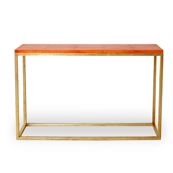 Gold Leaf Ostrich Console Table