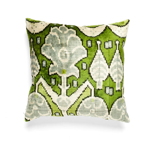 Silk Velvet Green IKAT Square Pillow