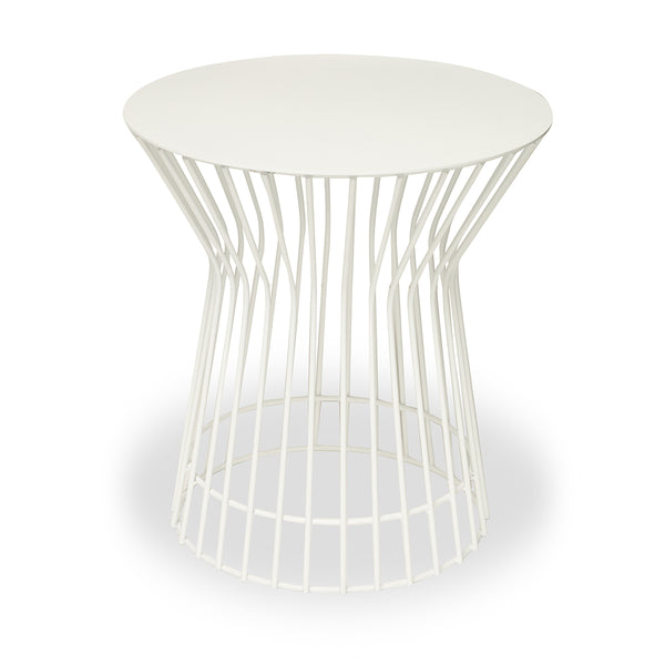 White Wire Side Table - Short