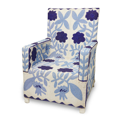 Beaded Blue Armchair