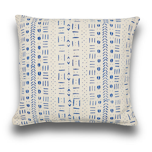 Genuine Blue and White Mudcloth Square Cushion
