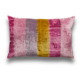 Silk Velvet IKAT Candy Stripe Pink Lumbar Pillow