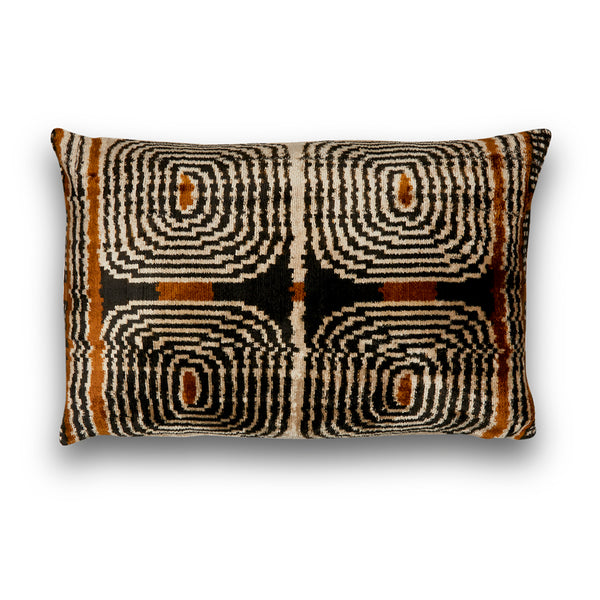 Silk Velvet IKAT Bronze Neutral Lumbar Pillow