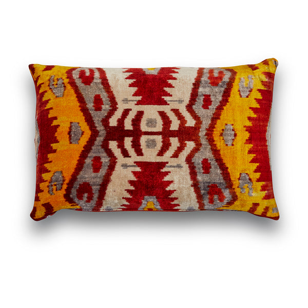 Silk Velvet IKAT Traditional Lumbar Pillow