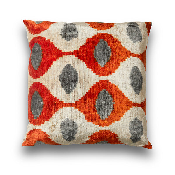 Orange and Grey Teardrop IKAT Pillow