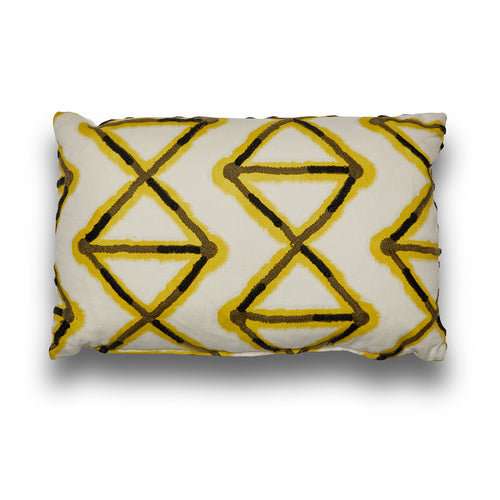 Pierre Frey Yellow and Black Diamonds Lumbar Cushion