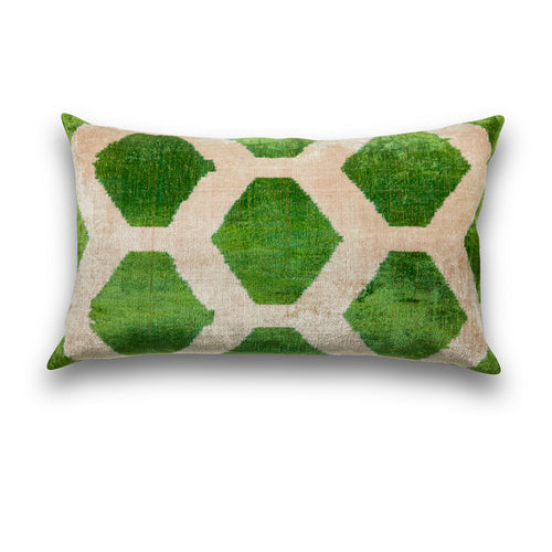 Silk Velvet IKAT Green Diamonds Lumbar Pillow