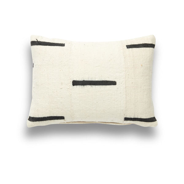 Mini Mud Cloth White On Black Pillow