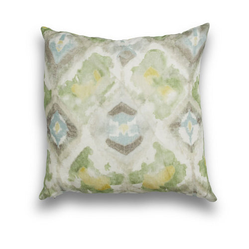 Linen Green Water Color Square Pillow