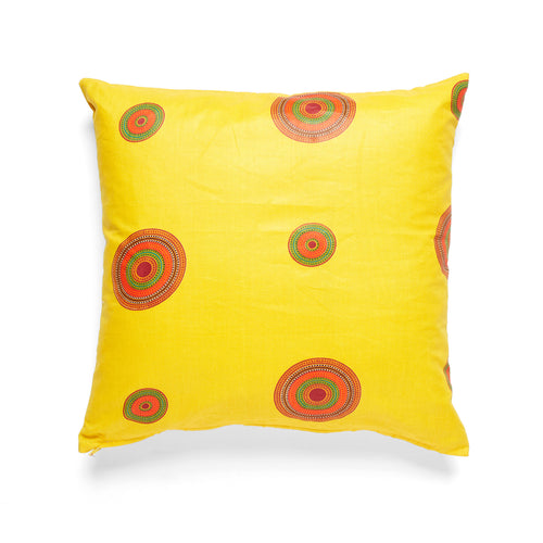 African Wax Print Yellow Square Cushion
