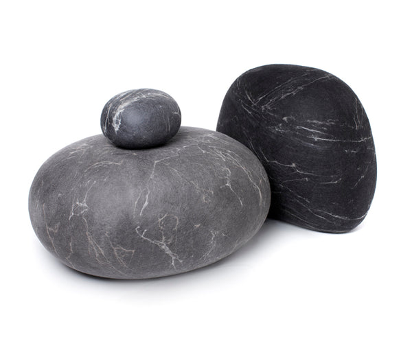 Medium Grey Felted Wool Rock Pillows