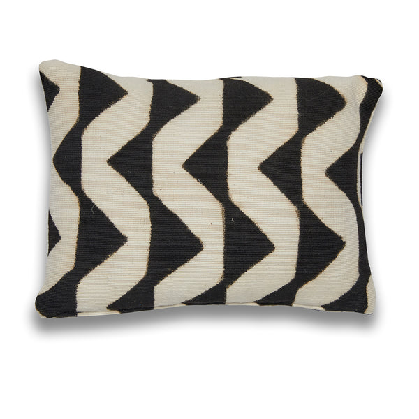 Zig Zag Black and White Mudcloth Mini Cushion