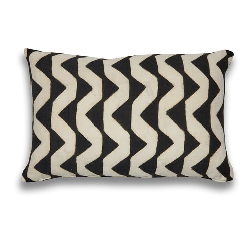 Zig Zag Black and White Mudcloth Lumbar Cushion