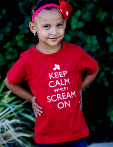 Keep Calm While I Scream On - Toddler Tee - Red