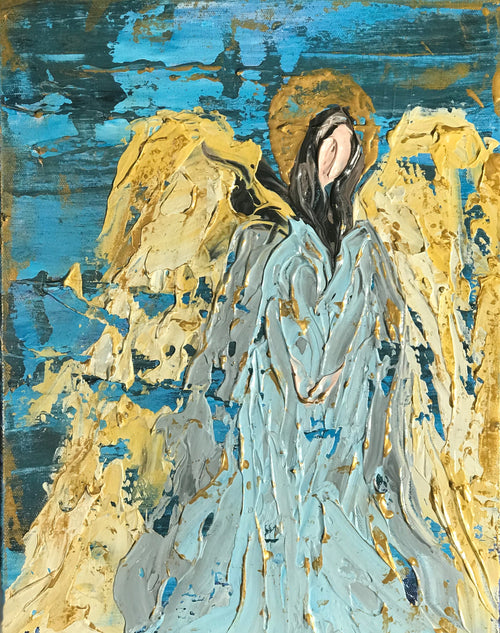 "Golden Angel in the Blue - 12"" x 16"" x 1.5"" - Artwork"