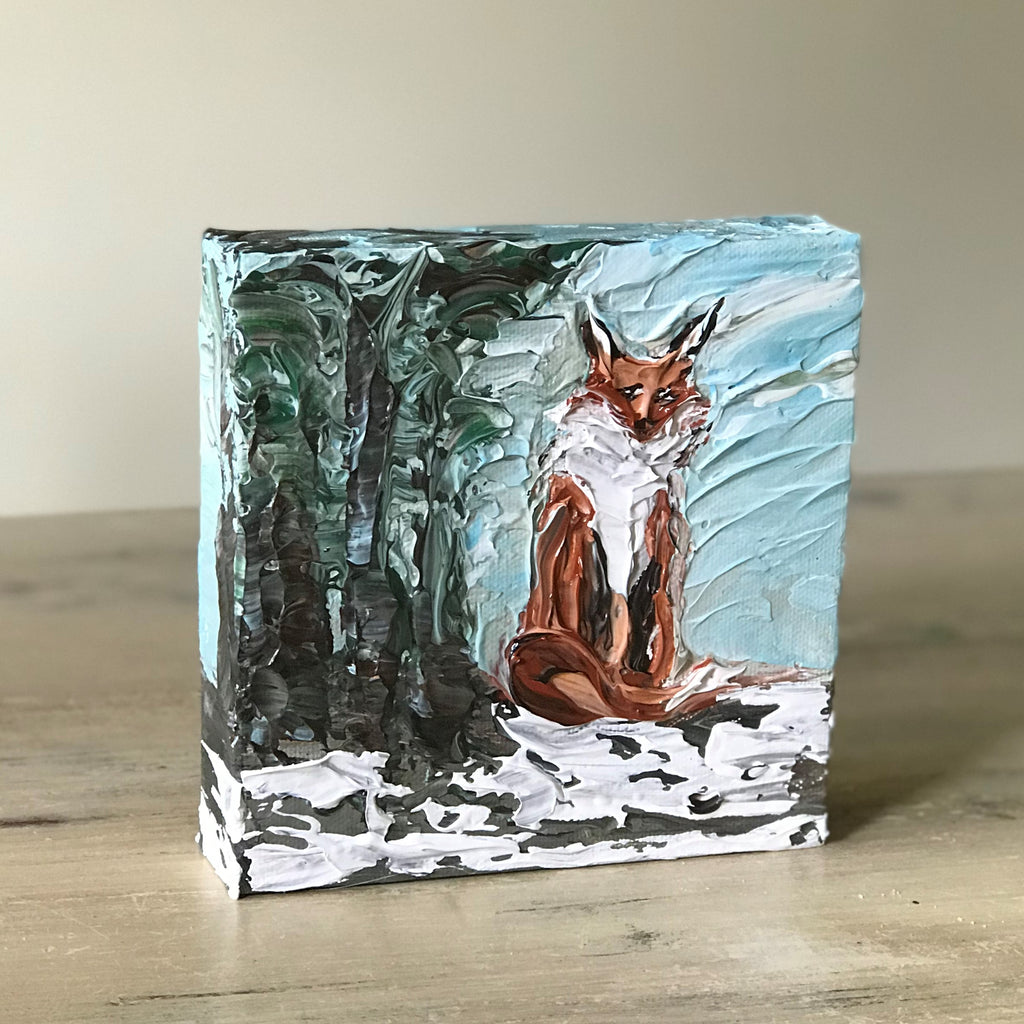 "Red Fox Mini Painting - 6"" x 6"" 1.5"""