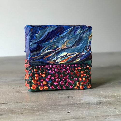 "Blazing Flower Field Mini Art 4"" x 4"" x 1.5"""