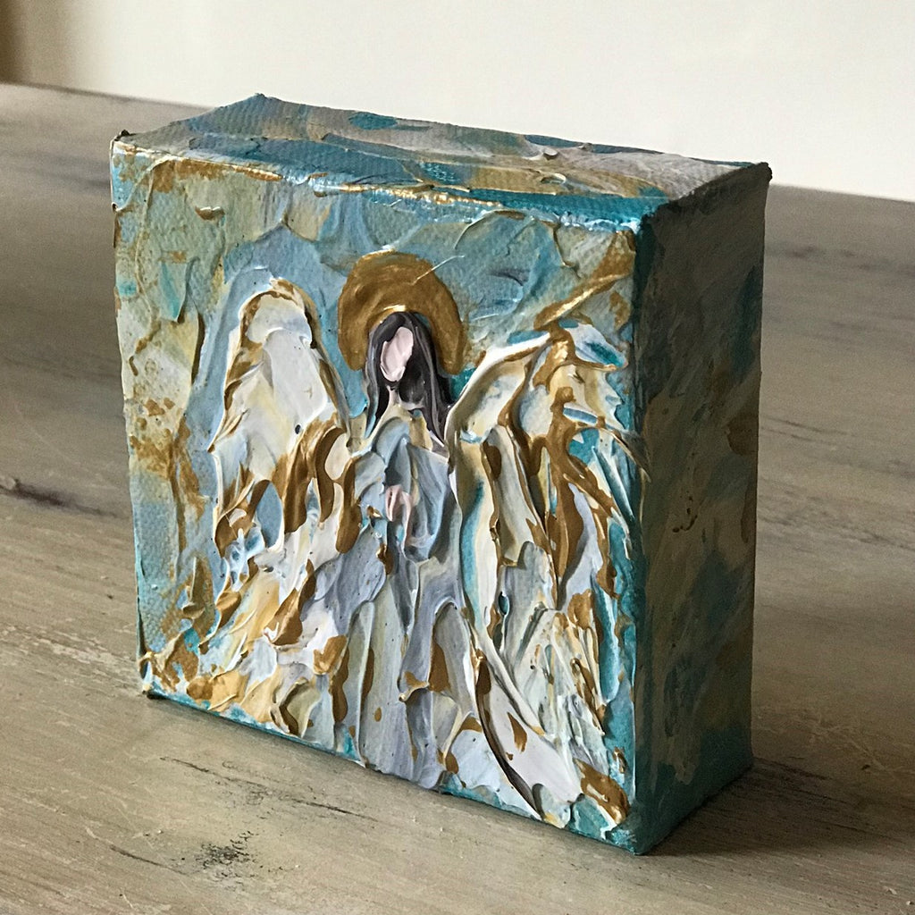 "Angel to Watch Over You Mini Painting - 4"" x 4"" x 1.5"""