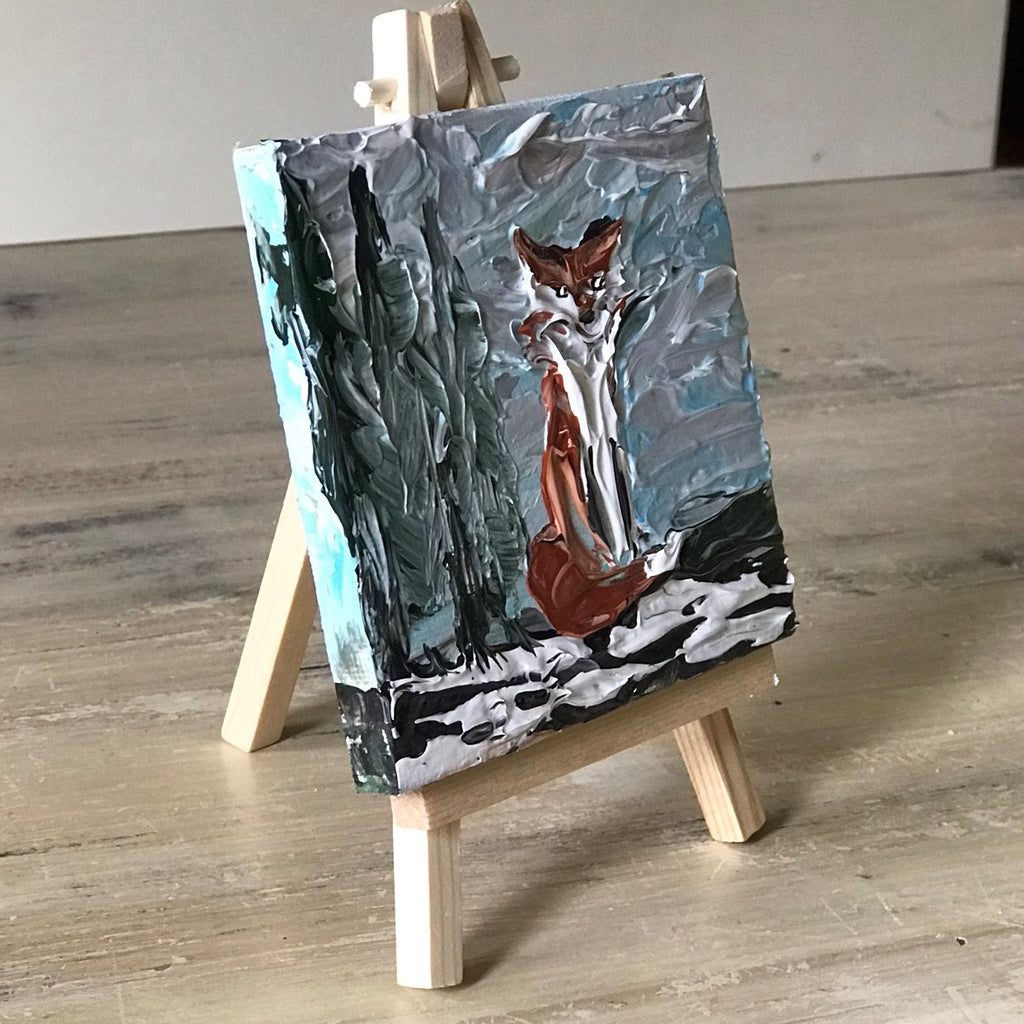 "Fox in Winter Mini Art - 4"" x 4"" with Easel"