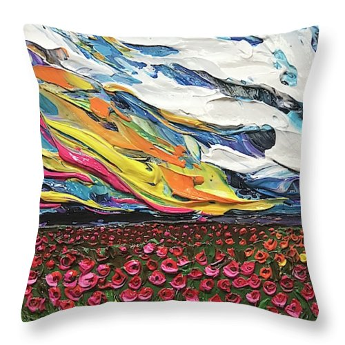 Blazing Flower Field - Throw Pillow