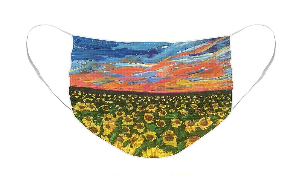 Blazing Sunflower Field - Face Mask