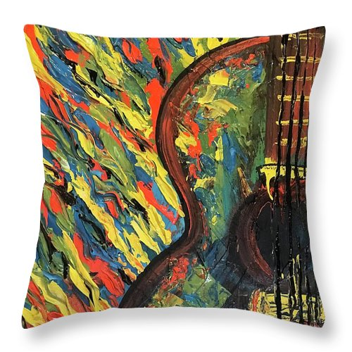"""Git It"" Impressionist Guitar - Throw Pillow"