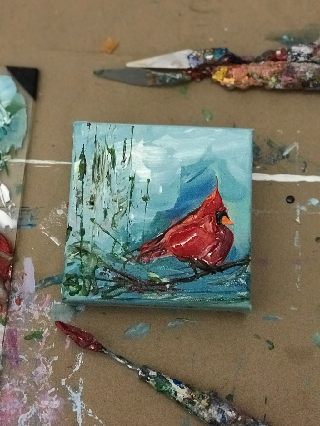 New! Cardinal in the Blue - Artwork
