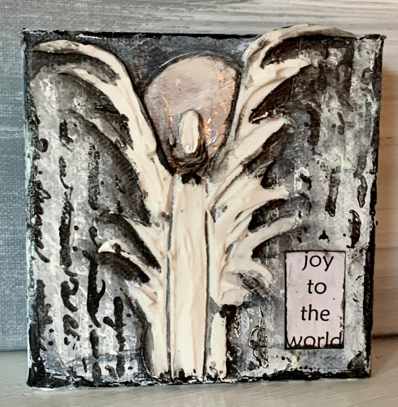 "Joy to the World Angel - 4x4x1.5"" - Artwork"