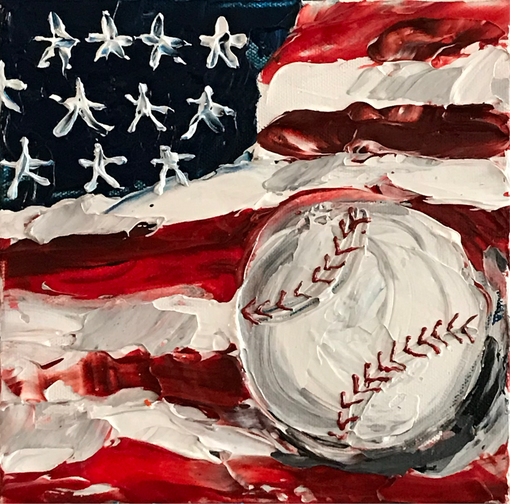"New! American Baseball - 8"" x 8"" x 1.5"" Artwork"