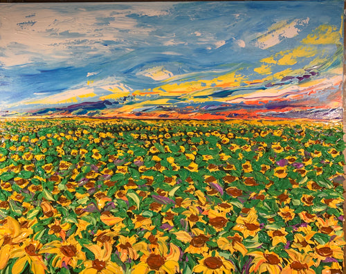 "Flaming Sunflower Field 24"" x 30"" x 1.5"""