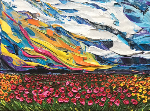"Blazing Flower Field 12"" x 16"" x .5"" - Artwork"