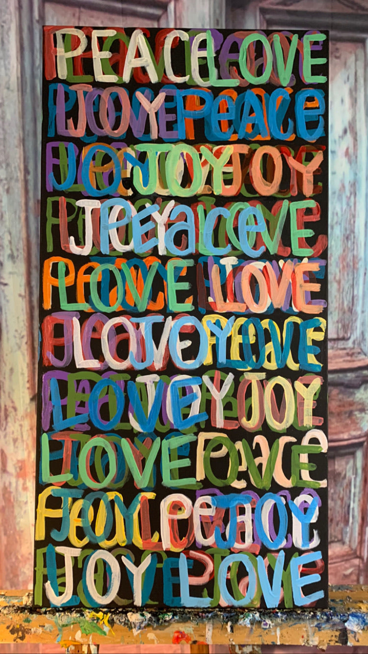"New! ""Peace, Love & Joy"" 15"" x 30"" x 1.5"" - Artwork"