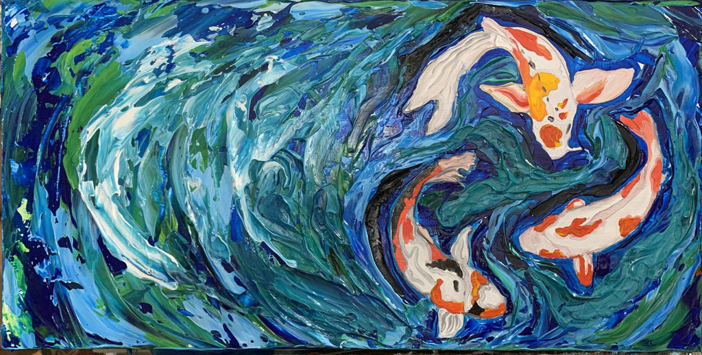 "New! ""Swirling Koi"" - 12"" x 24"" x 1.5"" Artwork"