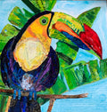 "Toucan Joy 12""x12x.75"" paper collage"