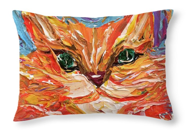 Green Eyed Tabby - Throw Pillow
