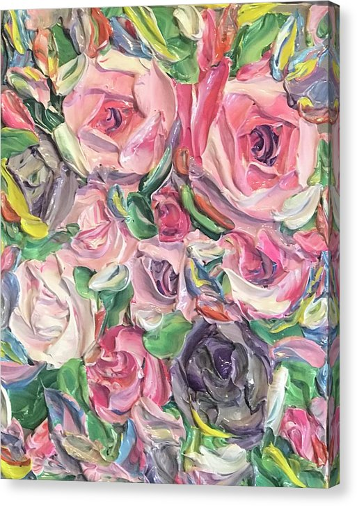 Rose And Peony Flower Bomb - Canvas Print