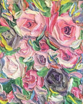 Rose And Peony Flower Bomb - Art Print