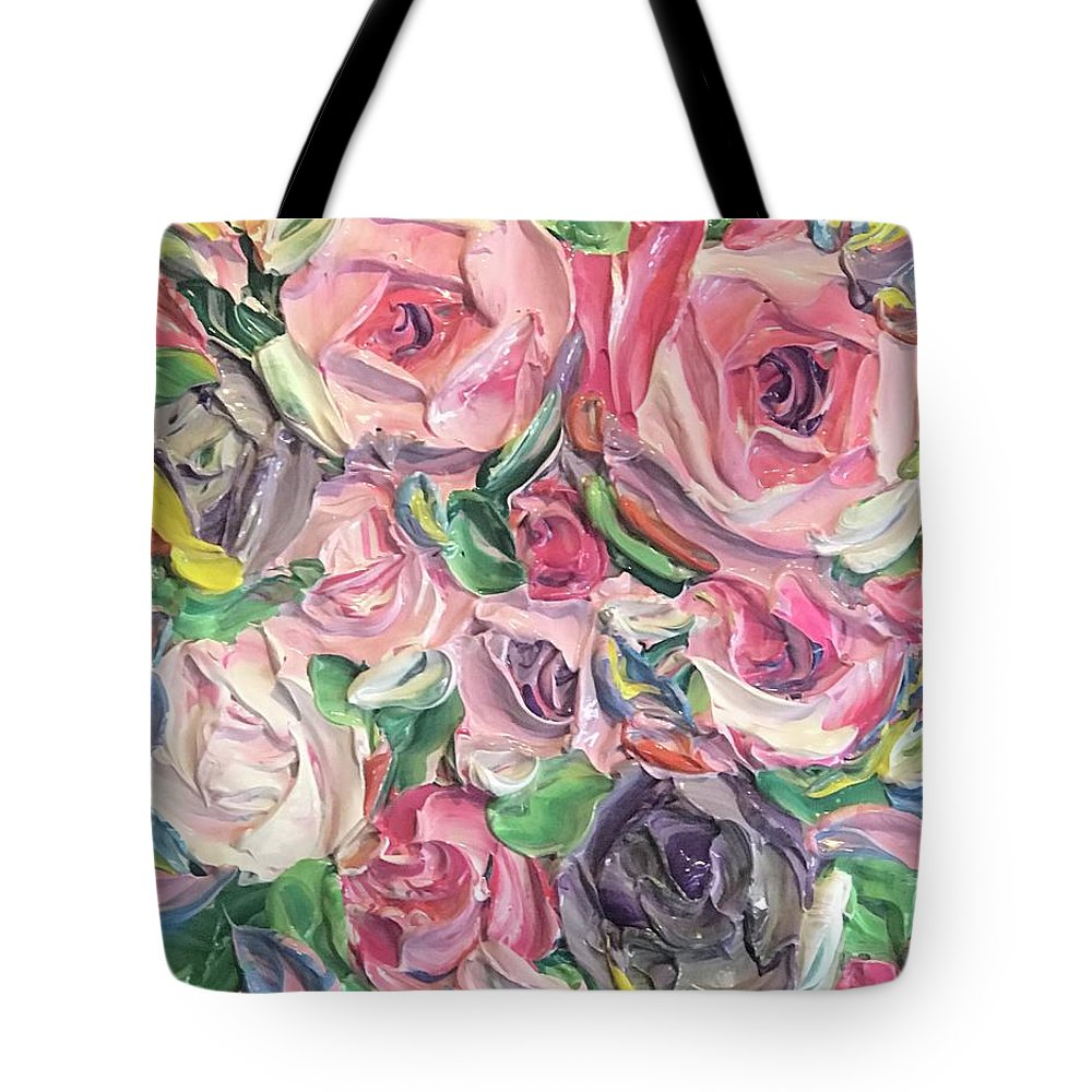 Rose And Peony Flower Bomb - Tote Bag