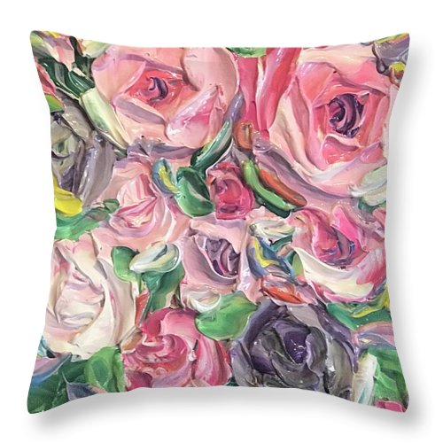 Rose And Peony Flower Bomb - Throw Pillow