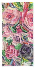 Rose And Peony Flower Bomb - Beach Towel