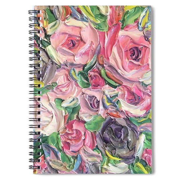 Rose And Peony Flower Bomb - Spiral Notebook