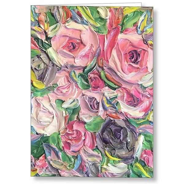 Rose And Peony Flower Bomb - Greeting Card