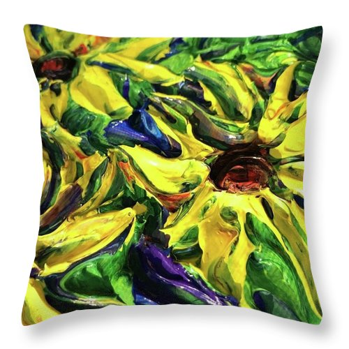 Sunny Flowers - Throw Pillow