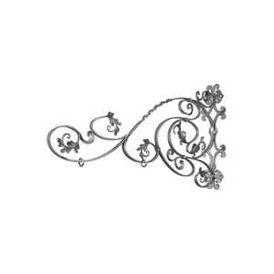 Hand Forged Steel Scroll Sign Bracket with Leaves and Twist Detail, Black, BB-0303