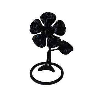 Forged Steel Flower Business Card Holder with Leaf - Black, BB-0103
