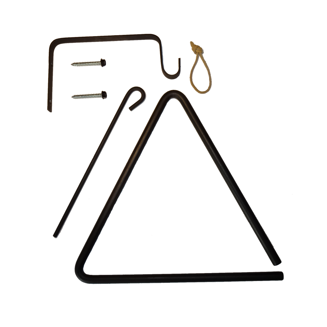 Dinner Bell - Old West Style Triangle - w/Ringer, Thong, Mounting Bracket and Screws DB-0911