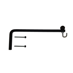Hanging Plant Bracket Combo - 1/2 Inch Square Solid Steel, Ball, Hook & S-Hook w/Basket, CO-1821