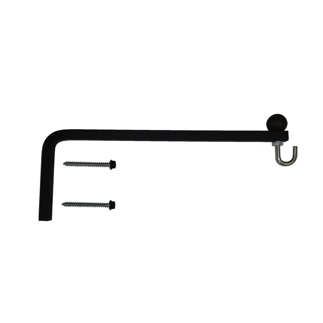 Hanging Plant Bracket - 1/2 Inch Square, w/Ball & Hook, Black, PH-0821