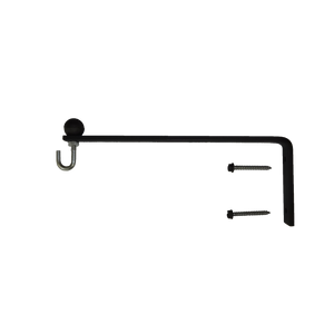 Hanging Plant Bracket Combo - 1 Inch by 1/4 inch Flat Solid Steel, Ball, Hook & S-Hook w/Basket, CO-1841